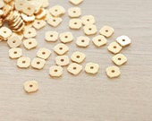 40 pcs of Gold Plated Square Brass Spacer Beads - 8 mm