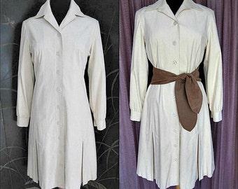 Vintage ULTRASUEDE Dress Coat Coatdress / Stanley Sherman / fits S to M / made in Hong Kong