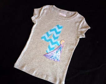Custom Frozen Elsa or Anna birthday number or initial shirt