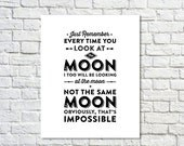 BUY 2 GET 1 FREE Typography Print, Tv Quote, White Black, Andy Dwyer, Valentines Day, Love Poster, April Ludgate, Moon Quote