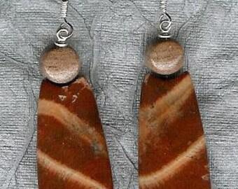 Earrings - Red Snake Skin Jasper, Sterling Silver