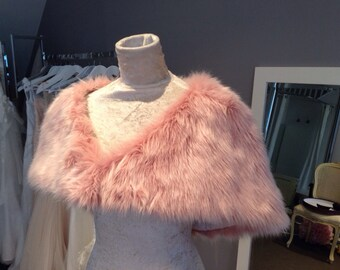 Mauve Faux Fur Shrug