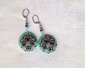 Handmade Polymer Clay Dangle Shamrock Clover Flower Saint Patrick's Day Spring Green Earrings