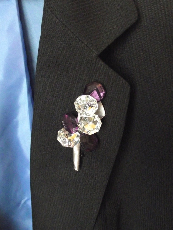 Rhinestone and purple crystal boutonniere