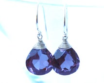 Color Change Alexandrite Heart Briolette Gem Earrings in Sterling Silver , June Birthstone , Purple Gem , Wire Wrapped , 15th Anniversary