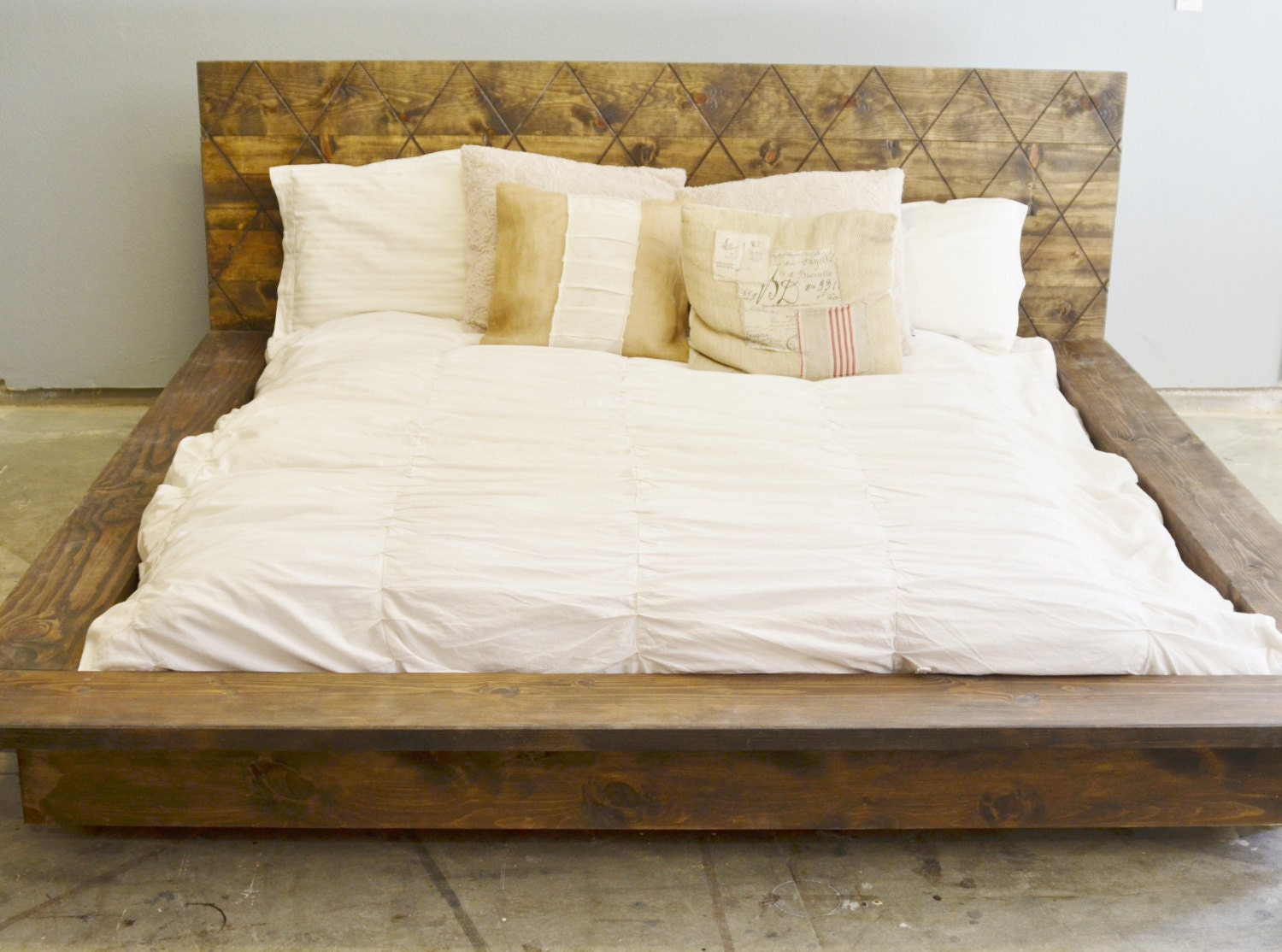 rustic wood platform bed frame with patterned headboard quilmes zoom