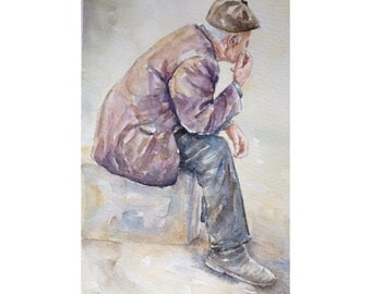 Original figurative watercolor painting ... 'Memories', wall decor