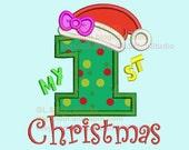 My first Christmas embroidery applique design, 1st xmas girl machine digital, 1st birthday winter, christmas-036