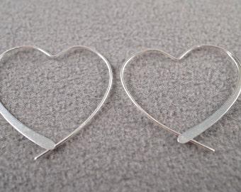 Vintage Sterling Silver Creatively Designed  Fancy Heart Pierced Earrings