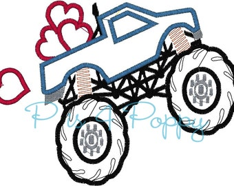 Valentine Monster truck applique design instant download