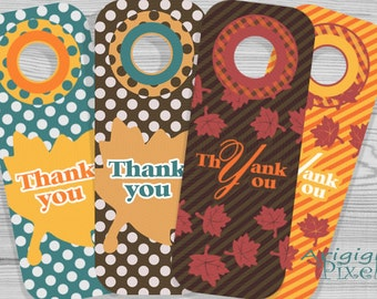 Thank you printable wine bottle gift tag, Thanksgiving printables, fall leaves, polka dots, stripes, autumn colors, party , instant download