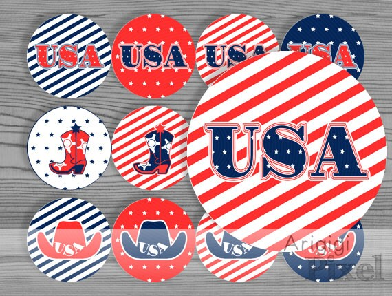 July 4th - printable round label 2.5 in - patriotic holiday - download