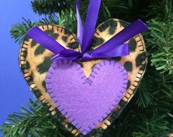 Set of 3 Cheetah hearts in pink, blue, purple.