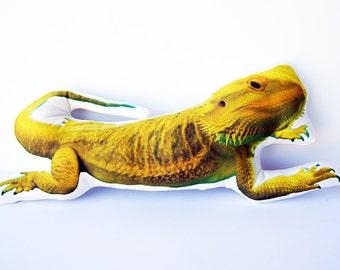 Custom Reptile Pillow, Personalized Lizard Photo Pillow,Bearded Dragon, Leopard Gecko, Iguana, Monitor, Snake Pillow, Reptile Memorial