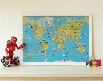 Kids Cartoon Map of the World - Silk Art Paper