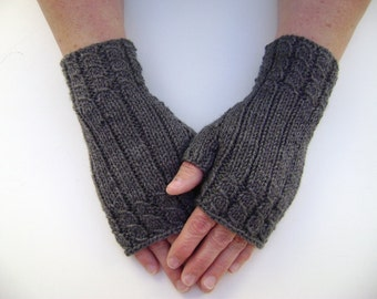 Dark Grey Fingerless Gloves/ Mittens. Wrist warmers. Hand Knit.
