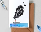Full Steam Ahead - Steam Ship Greetings Card