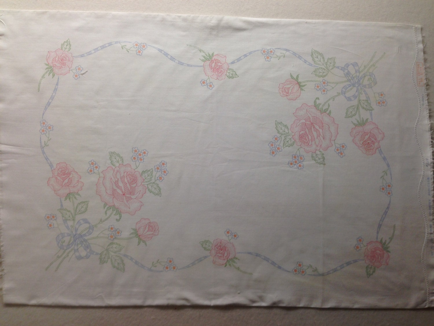 Pillowcase stamped for embroidery vintage