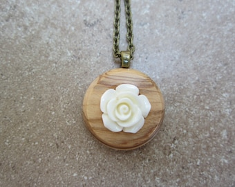 White rose and wood button necklace