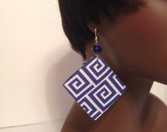 Blue  & White Abstract Earrings