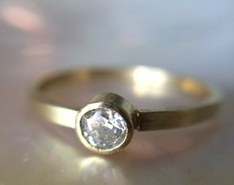 18kt  Recycled Gold & Diamond Engagement Ring- Thin Band Rustic Engagement Ring