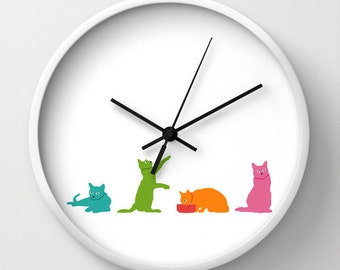 Colorful Cats Wall Clock, White Clock