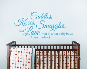 Quote Wall Decal - Cuddles, Kisses, Snuggles and Love Wall Decal - Nursery Vinyl Wall Decal - Love Wall Decal - 09-0004