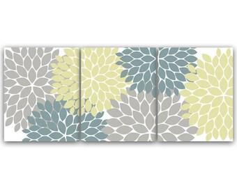 Home Decor Art INSTANT DOWNLOAD Grey Teal Flower Burst Art Bathroom Wall Art Bedroom Decor Set of 3 Art Print - HOME72