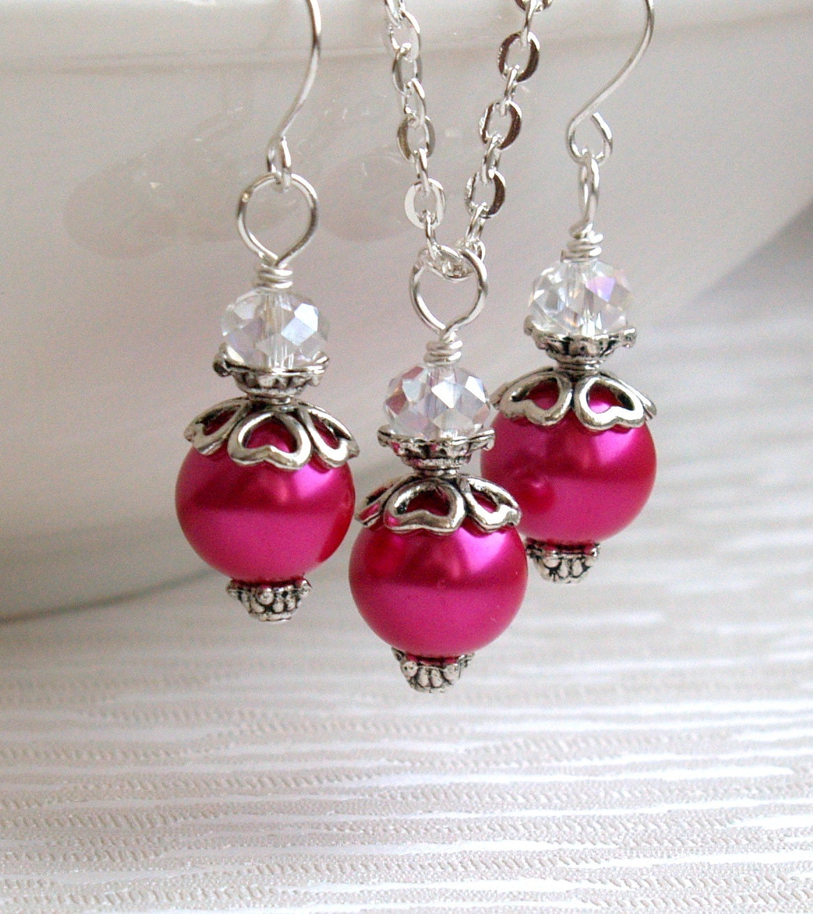 hot pink jewelry set set of necklace and earrings