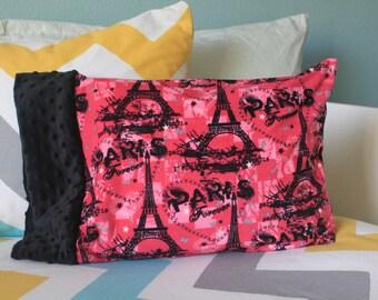 Minky Eiffel Tower Travel Pillowcase