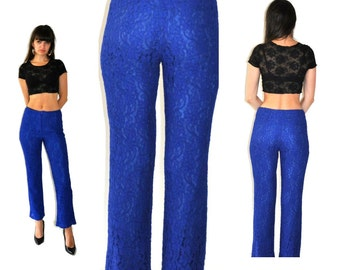 Vintage Lace Floral Blue Pants
