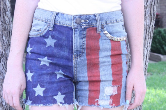 High wasted hand painted american flag shorts, distressed shorts, repurposed shorts
