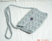 Silver Gray Crochet Sparkle Shell Clutch