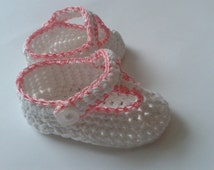 Handmade Baby T-Strap Booties, 0 - 3 months, white with pink trim