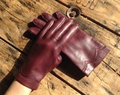Vintage Burgundy Brown Leather Gloves -Small - Driving Gloves - Retro