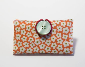 Fabric Business Card Holder, Loyalty Card Case, Pink and Green Floral