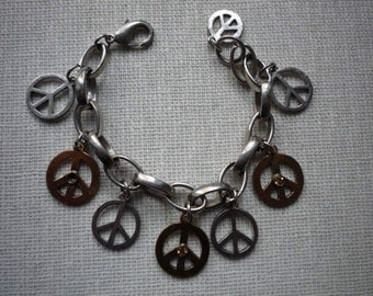 Vintage Silver Gold Tone Citrine Rhinestone Peace Sign Link Chain Bracelet