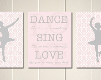 Girls wall art, nursery art, ballerina nursery, french nursery art, musical notes, girls poster, set of 3