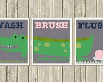 Alligator bathroom, Boy girl shared bathroom, kids bathroom art, alligator wall art, alligator nursery, crocodile bathroom, set of 3