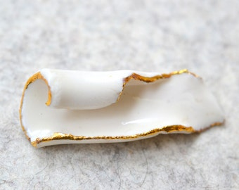 S A L E / Emba, Brooch, porcelain jewelry,  porcelain and gold glazed .