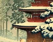 Japanese winter snow art prints, posters, paintings, woodblock prints, Saishoin Pagoda Temple in Snow, Hirosaki Hasui Kawase FINE ART PRINT
