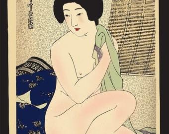 Japanese art, Nude geisha girl by Hirano Hakuho, vintage erotic japanese art prints, posters, paintings, woodblock prints reproductions