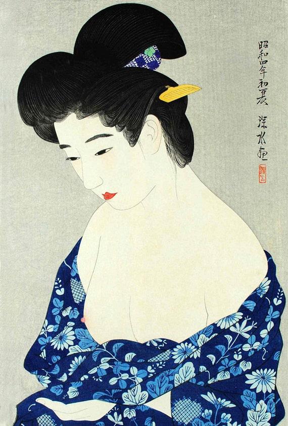 Super Japanese erotic art New Cotton Kimono Shinsui Ito FINE ART CG92