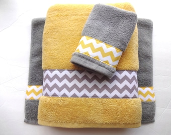 Pick Your Size Towel, Yellow And Grey Towels, Gray And Yellow. Bathroom,