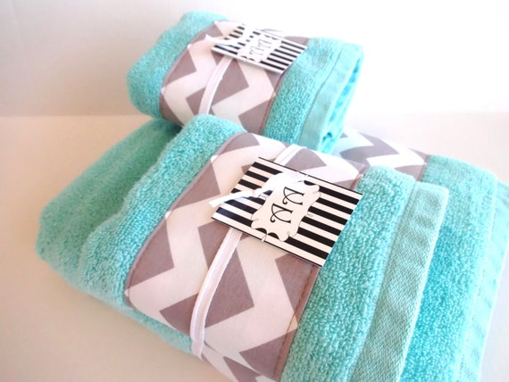 Grey Chevron And Aqua Towel Towels Hand Towel Aqua