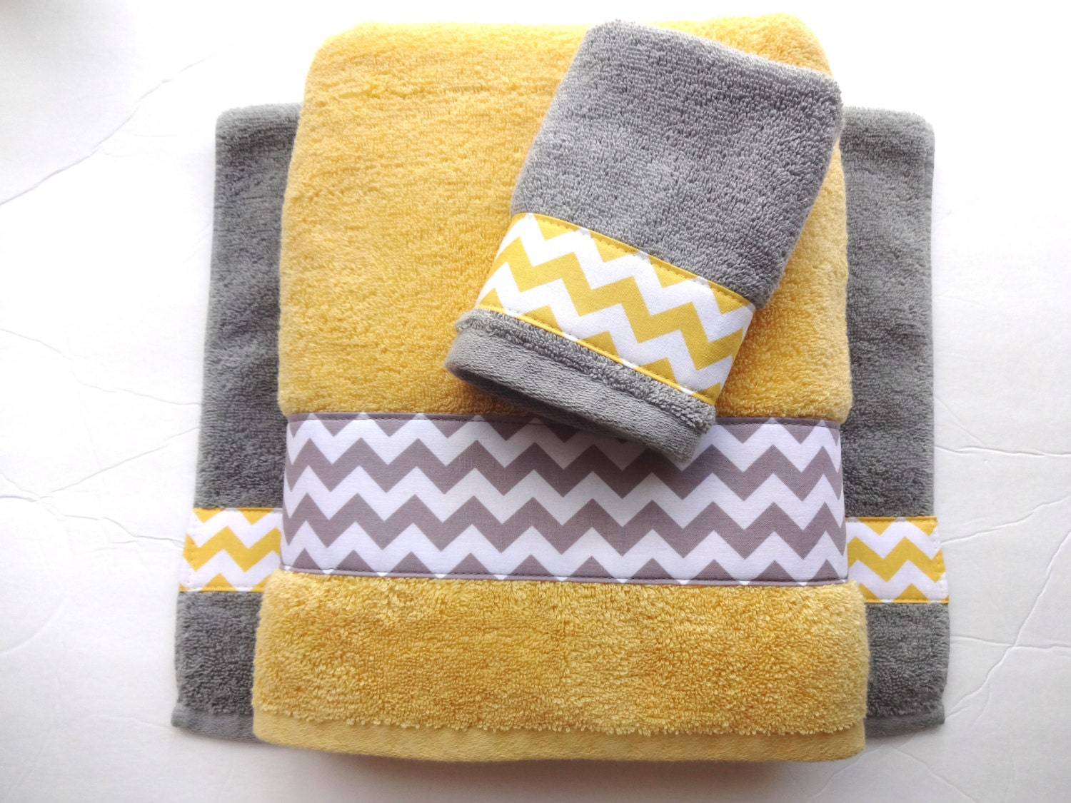 Pick your size towel yellow and grey towels gray and yellow for Bathroom decor yellow and gray