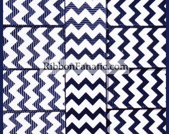 "5 yds 7/8"" Nautical Navy Blue and White Chevron Striped Grosgrain Ribbon"