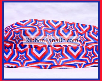 "5 yds 5/8"" Red White and Blue Stars Grosgrain Ribbon"