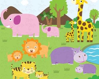 Wild Animals Clip Art Cute animals Jungle Animals Farm