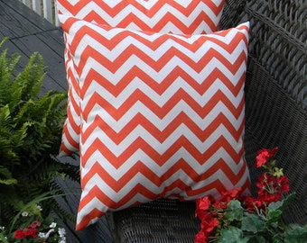 "Set of 2 Pillow Covers ~ 20"" Orange and White Zig Zag Chevron Decorative Square Pillow Covers ~ Indoor Outdoor Fabric"